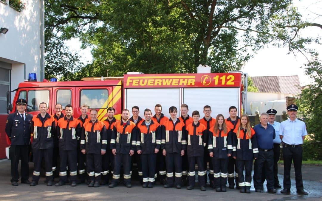 """Geldersheim: 18 Feuerwehrmitglieder legen Leistungsabzeichen """"Wasser"""" ab"""
