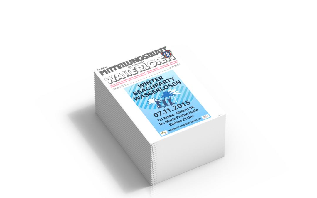 Gemeindeblatt Wasserlosen ab 1.1.2016 an alle Haushalte