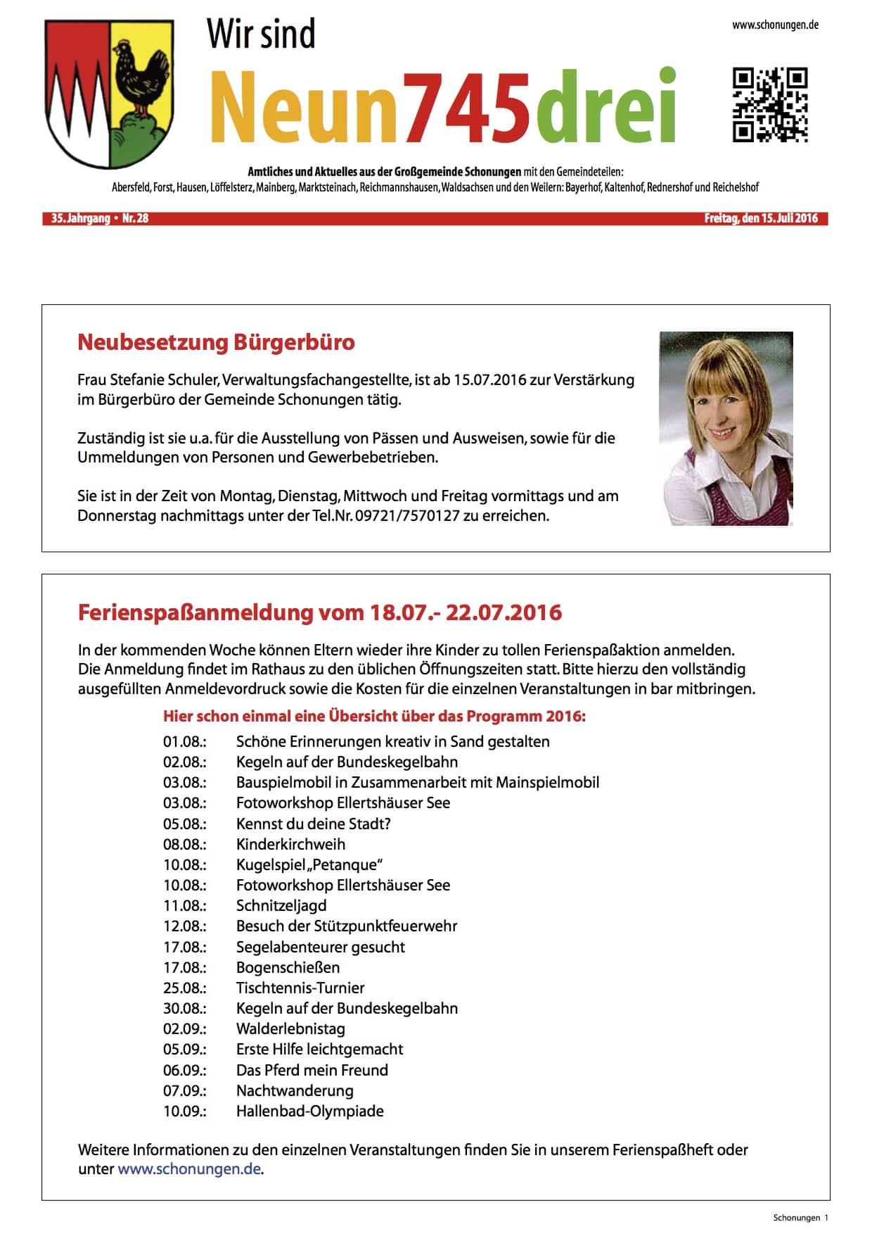 Gemeindeblatt Schonungen vom 15.7. - Titelseite