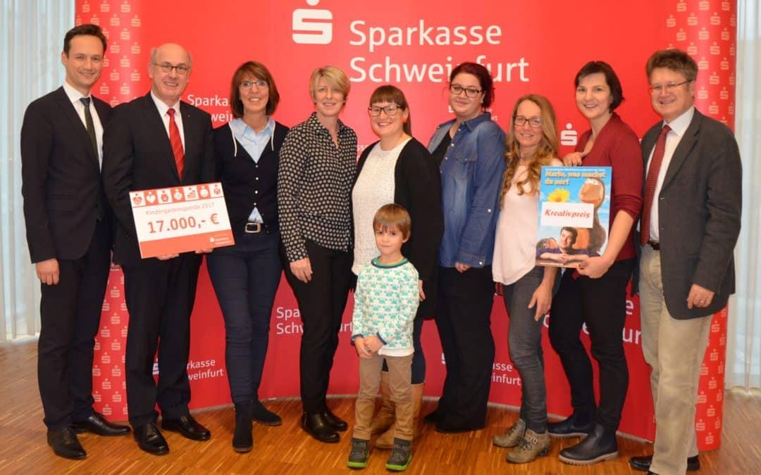 Sparkasse Schweinfurt unterstützt Kindergärten mit 17.000 Euro Spende und 5.000 Euro Sonderförderung