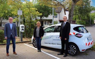 Bauverein und Stadtwerke errichten gemeinsam Ladestation für E-Autos